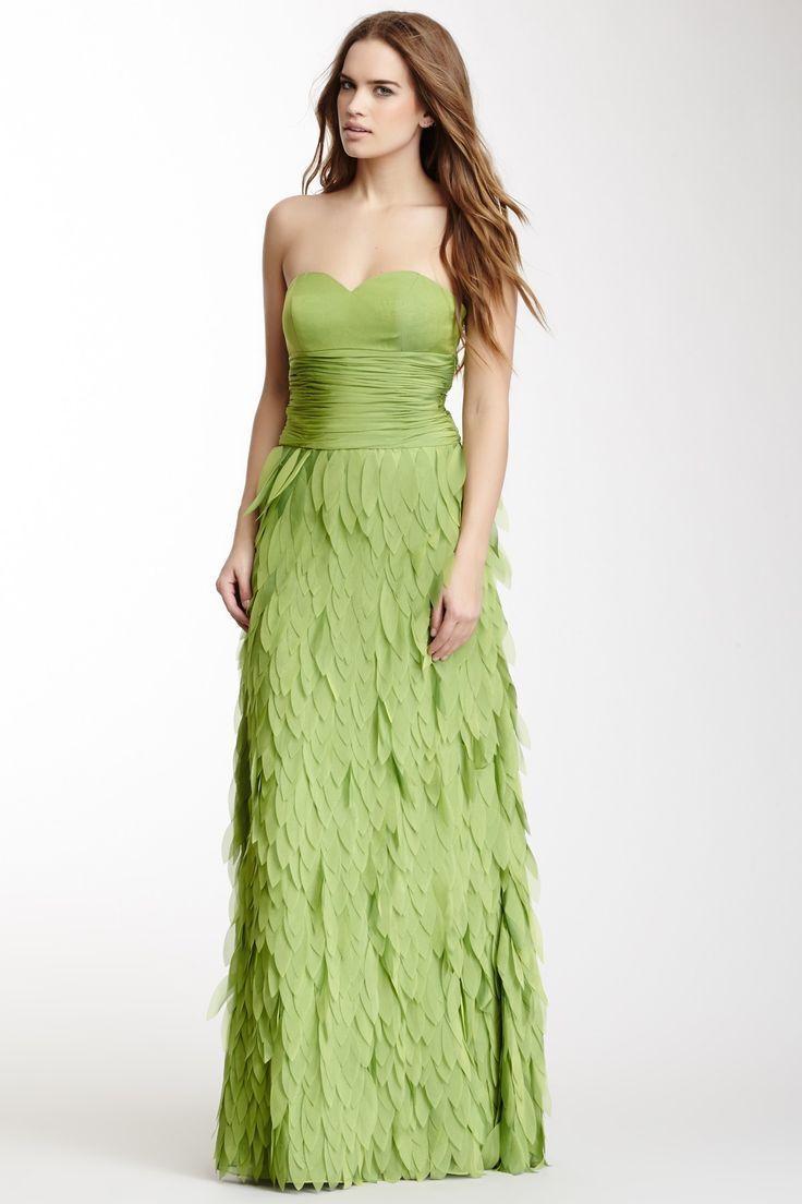 Stunning Dalia MacPhee Strapless Leaf Applique Grün Strapless Gown Dress