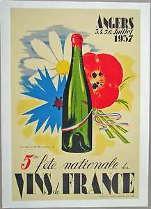 Image Is Loading Vins De France Wine Vintage Art Nouveau Poster