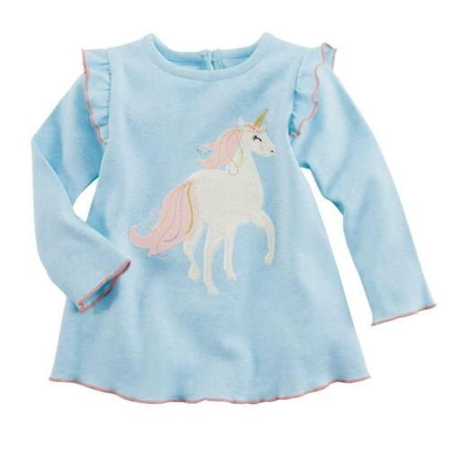 Mud Pie Kids Girls Dream in Glitter Blue Shirt White Magical Unicorn Blue