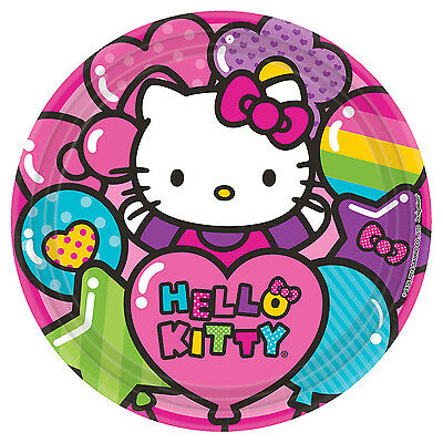 "16 Hello Kitty Rainbow Birthday Party Disposable 9"" Paper Lunch Plates"