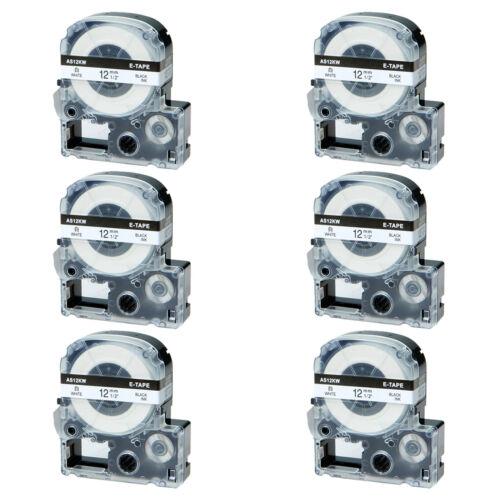 6x Schwarz auf weiß 12mm LC-4WBN Farbband für EP LW300 LW400 LW1000P KingJim 8m