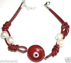 Armband Aus Auge Türkisch 20 MM Rot Mit Leder, Perlas Kultiviert Und Silber Pl