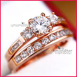18k Rose Gold Gf 1ct Trilogy Signity Diamond Solid Engagement Wedding Rings Set Ebay