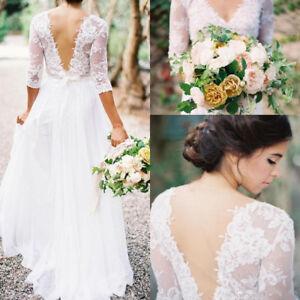 Lace Half Sleeves Ivory Wedding Dresses with V Back Boho Bridal ...