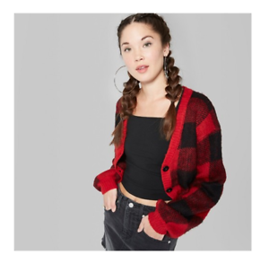 Wild Fable Cropped Cardigan Women/'s Size Medium Plaid Button Red Black New NWT