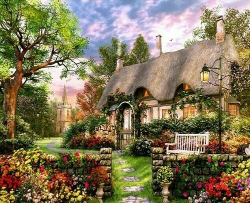 Paint By Numbers DIY Dream Manor House Garden 40CMx50CM Canvas