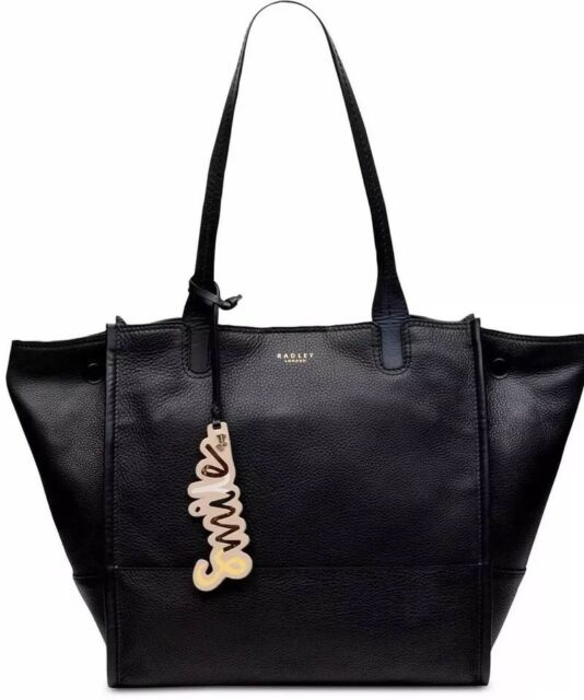 New Radley London Ious Smile Open Toe Tote Black Gold Leather Bag