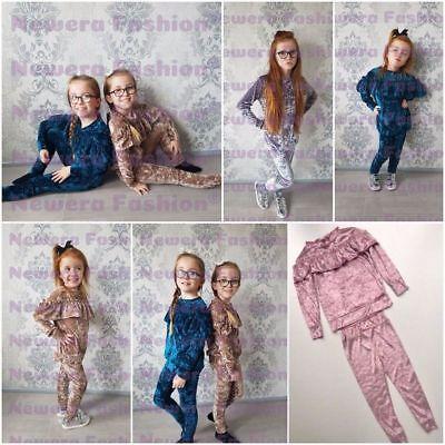Girls Kids Crushed Velvet Frill Lounge Suit Velour Tracksuit Jogsuit New  5-13