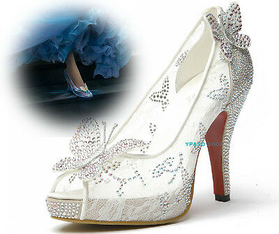 Lace butterfly Princess Cinderella Diamond Crystal High Heel Glitter Pumps Shoes
