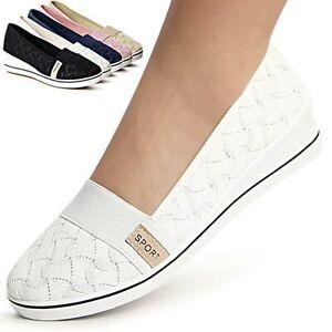 Damenschuhe-Keilabsatz-Ballerina-Sneaker-Plateau-Slipper-Turnschuhe-Glitzer
