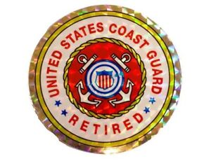 Details about United States Coast Guard Retired Reflective Round Decal  Bumper Sticker 3