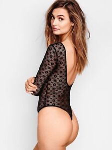 VS Victoria/'s Secret Lingerie All-over Lace Long Sleeve Teddy Thong XS S Black