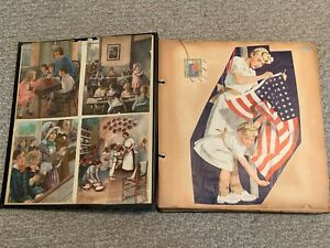 Vintage-WWII-era-50-page-SCRAPBOOK-Clippings-planes-Military-PATRIOTIC