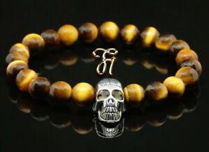Tigerauge-braun-8mm-Armband-Perlenarmband-silberfarbener-Totenkopf-Skull