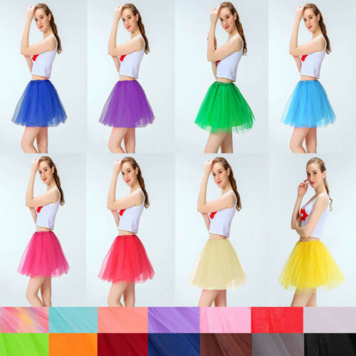Women Girls Tulle Fibers 3 Layered Ballerina Tutu Skirt W// Stretch Waist