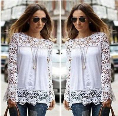 Fashion Women Sheer Sleeve Embroidery Lace Crochet Tee Chiffon Shirt Tops Blouse