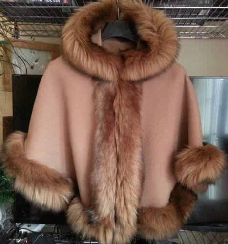 CAMEL KIDS GIRLS FLUFFY FAUX FUR HOODED WINTER CAPE COAT PONCHO SZ L 8-10 YEARS