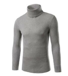 Details about Mens Turtleneck Sweater Knitted Striped Pullover Jumper Winter Long Sleeve Tops