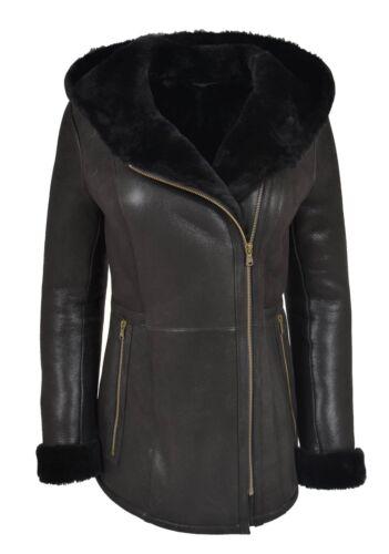 Zip Ladies Black Jacket Hooded Length Hip Shearling Sheepskin Coat Ellen BYABf