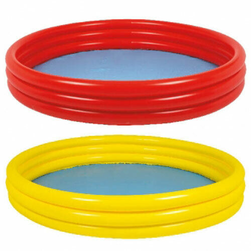 Plain 3 Ring Inflatable Childrens Outdoor Garden Paddling Pool Assorted Colour