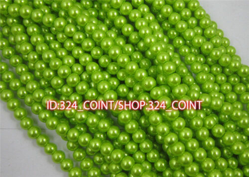 Z003F Wholesale green Glass Pearl Round Spacer Loose Beads 4//6//8//10mm DIY