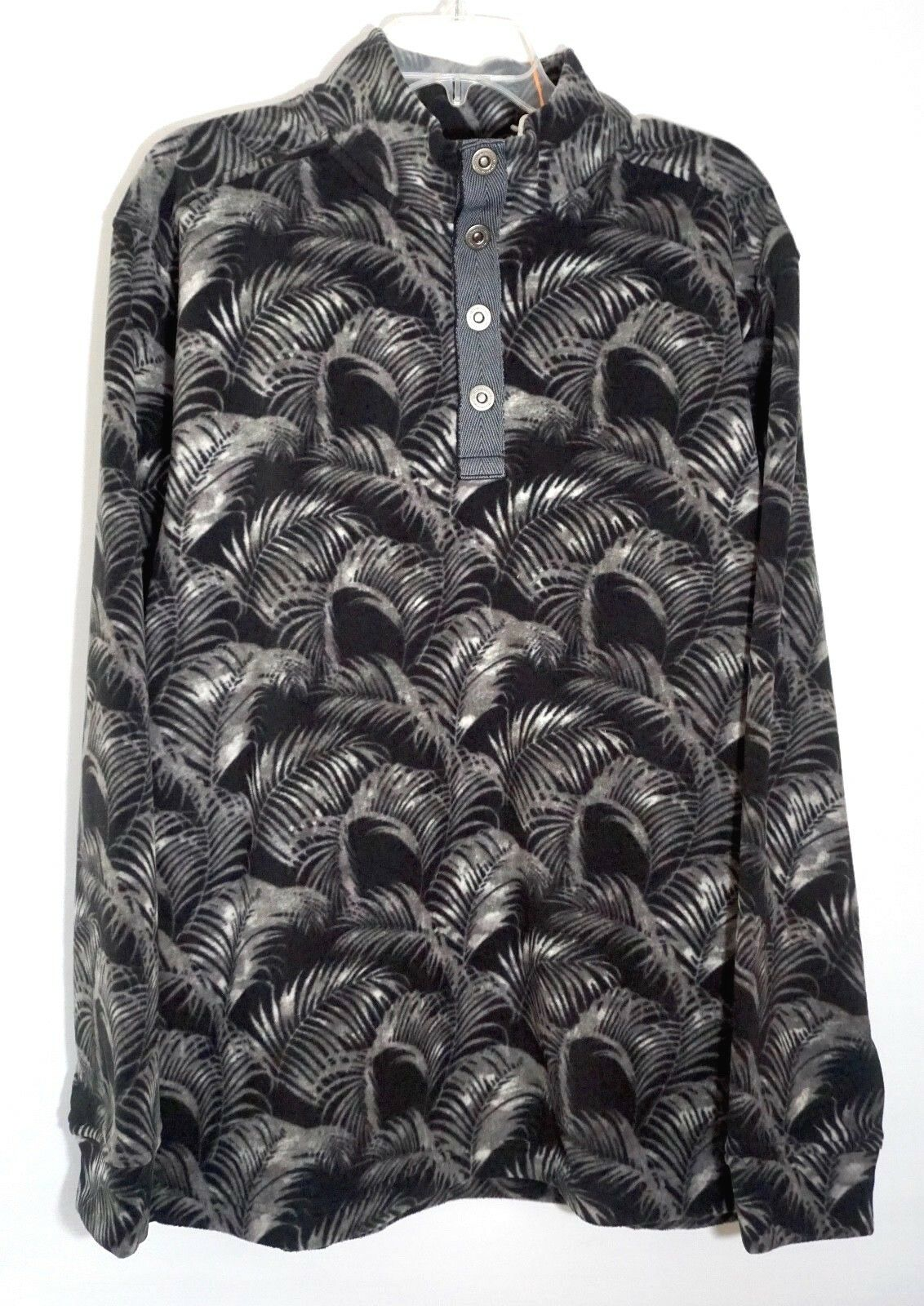 NEW Tommy Bahama Mens Fleece Pullover Sz XL Black Gray Fez Fronds Snap Mock $115