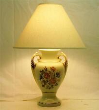 Vtg FRENCH PROVINCIAL LIGHT GREEN APPLE GLAZE & GOLD ACCENT CERAMIC TABLE LAMP