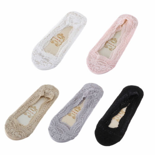 12 Pairs Women ladies No Show Lace Socks Anti Slip Liner Socks size 4-7