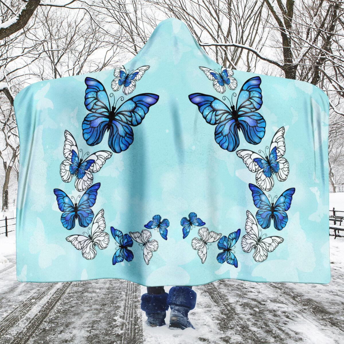 Morpho Butterfly Hooded Blanket, Butterfly Throw, Blau Butterflies Blanket
