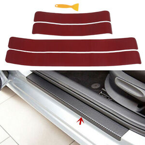 4Pcs-Wine-red-car-door-sill-scuff-welcome-pedal-protect-carbon-fiber-stickers-F