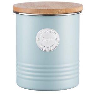 Typhoon-Living-bleu-acier-inoxydable-Sucre-Bidon-bambou-couvercle-cuisine-Conteneur