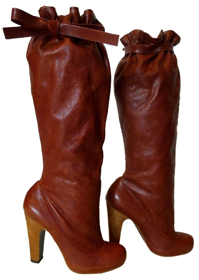 MARC JACOBS Burgundy Brown Knee High Boots Size 5.5 (35.5) Excellent Condition