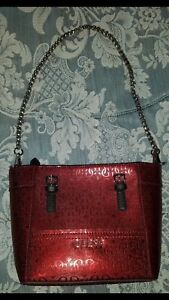 3a55f40bf Image is loading Guess-Delaney-Petite-Classic-Handbag-Metallic-Red-Maroon-