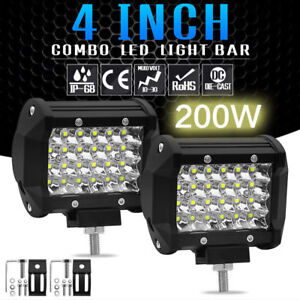 4in-200W-LED-Work-Light-Bar-Side-Shooter-Pod-Driving-Fog-OffRoad-Tractor-4WD-12V