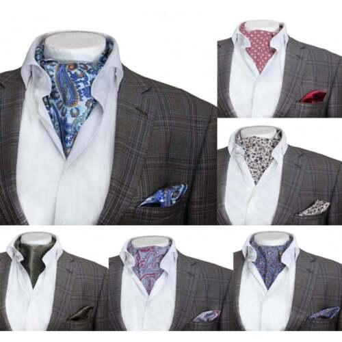 Casual Paisley Floral Ascot Cravat /& Handkerchief Set Wedding Formal Vintage