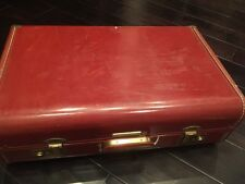 "Vintage Towncraft Leather Suitcase Luggage 21""x13"" with dividers hanger And Key"