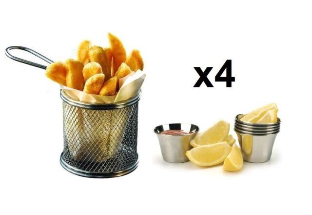 4 pcs Chrome Round Chip Fry Basket Serving Food Presentation Dish+FREE Ramekins