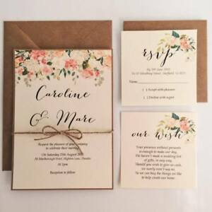 Wedding Invitation Packages.Details About Caroline Floral Wedding Invitation Rsvp Wish Card Twine Packages