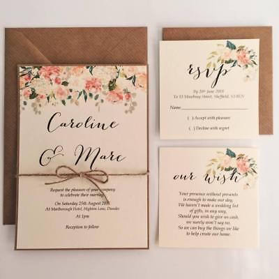 Caroline Floral Wedding Invitation Rsvp Wish Card Twine