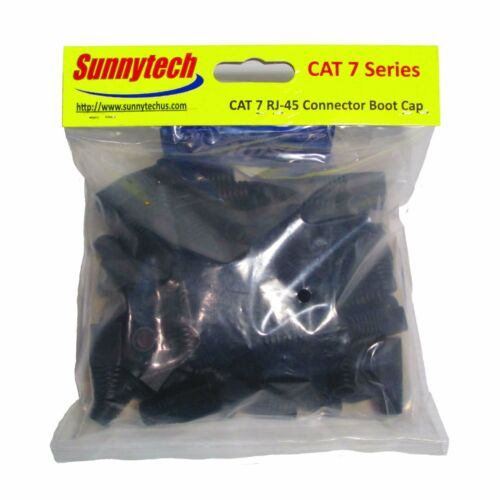 Sunnytech RJ45 Connector Boot Cap for CAT7 cable Black Color 20 Pack 8.0mm OD