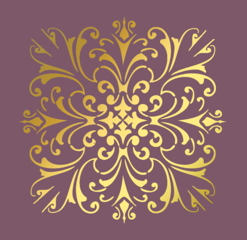 LARGE WALL DAMASK STENCIL PATTERN FAUX MURAL  #1020