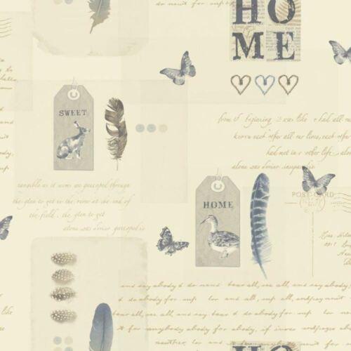 NEW ARTHOUSE VINTAGE LOMOND BIRD BUTTERFLY HOME TYPOGRAPHY MOTIF WALLPAPER