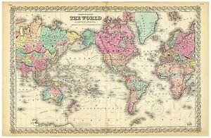 Alte Weltkarte Colton Ca 1856 Papier Leinwand Ebay
