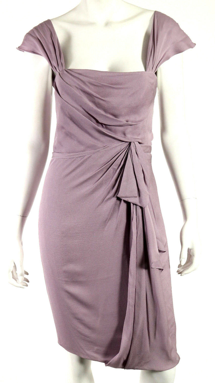 J. MENDEL MENDEL MENDEL Lavender Silk Crepe Cap Sleeve Draped Front Sheath Dress 4 64aca5