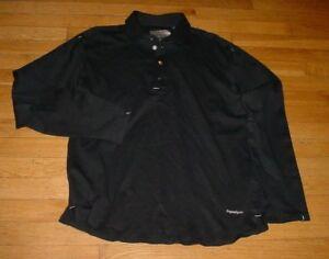 deed44167c Details about Ermenegildo Zegna Sport Long Sleeve Polo Cotton Black Logos  Thermoseam-Tech L