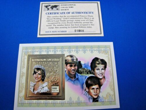 CHAD - 2 1997 GOLD FOIL S/S - PRINCESS DIANA MEMORIAL - MNH