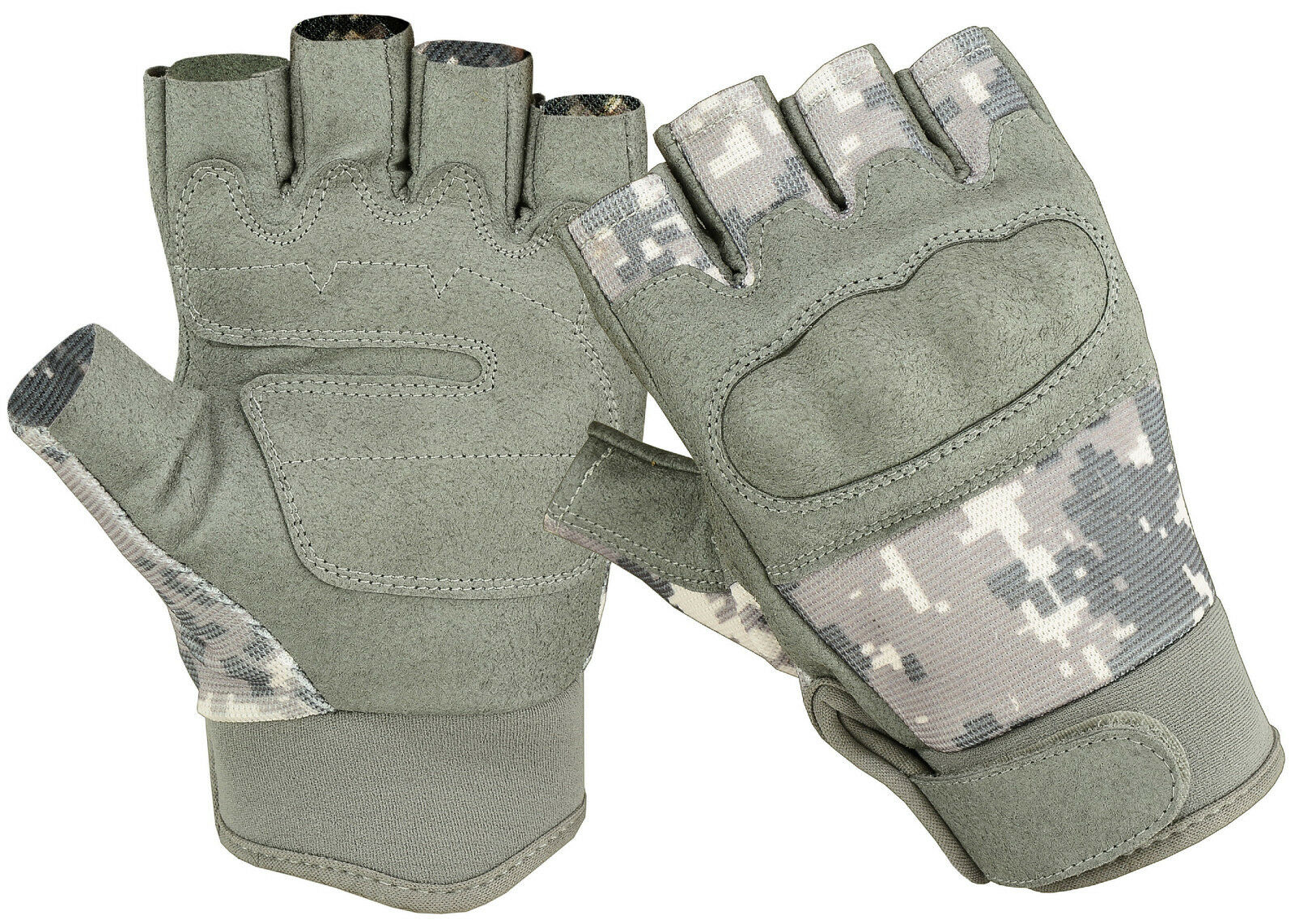 Fingerless Military Airsoft Tactical Hard Knuckle 1/2 Finger Shooting Gloves ACU