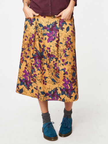Thought Rosetti Floral Print Tencel Skirt Elasticated Waist Gentle Flare Pockets