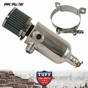 Proflow-Twin-Inlet-750ml-Polished-Oil-Catch-Can-Tank-amp-Breather-amp-Drain-Tap-12AN