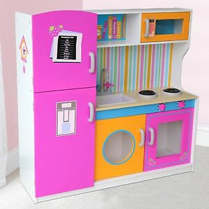Details About Big Wooden Kitchen With Fridge New Role Play Toy Free P P